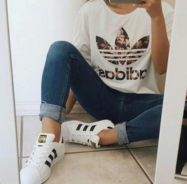 sports shoes 21de2 3b8bc jumpsuit shirt white adidas t-shirt jeans dress shorts shoes girly fashion  toast style