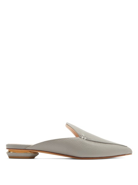 Nicholas Kirkwood backless loafers leather grey shoes