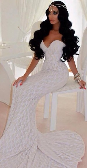 jewels bangles bracelets white white dress maxi dress headpiece