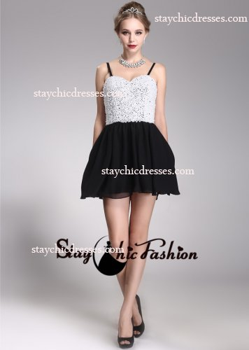 White Black Pearl Beaded Top Spaghetti Strap Short Chiffon Prom Dress [SC-22] - $168.00 : Prom Dresses On Sale, Semi-formal Dresses Online|StaychicDresses