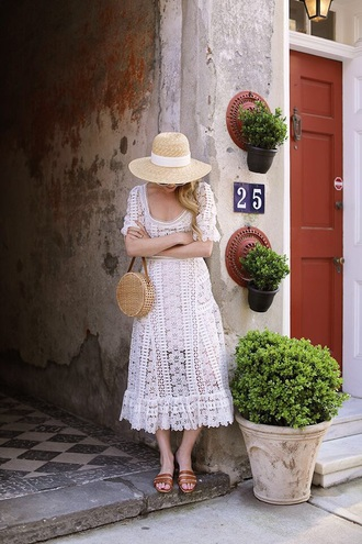 dress midi dress white dress lace dress spring dress shoes hat straw hat bag spring outfits