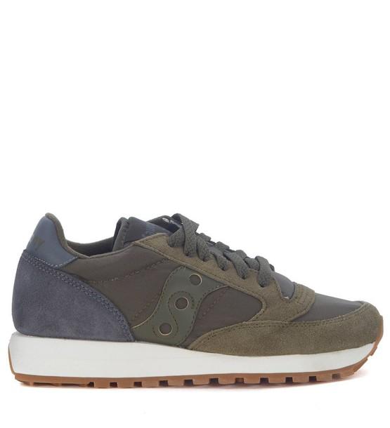 Saucony dark suede green grey shoes