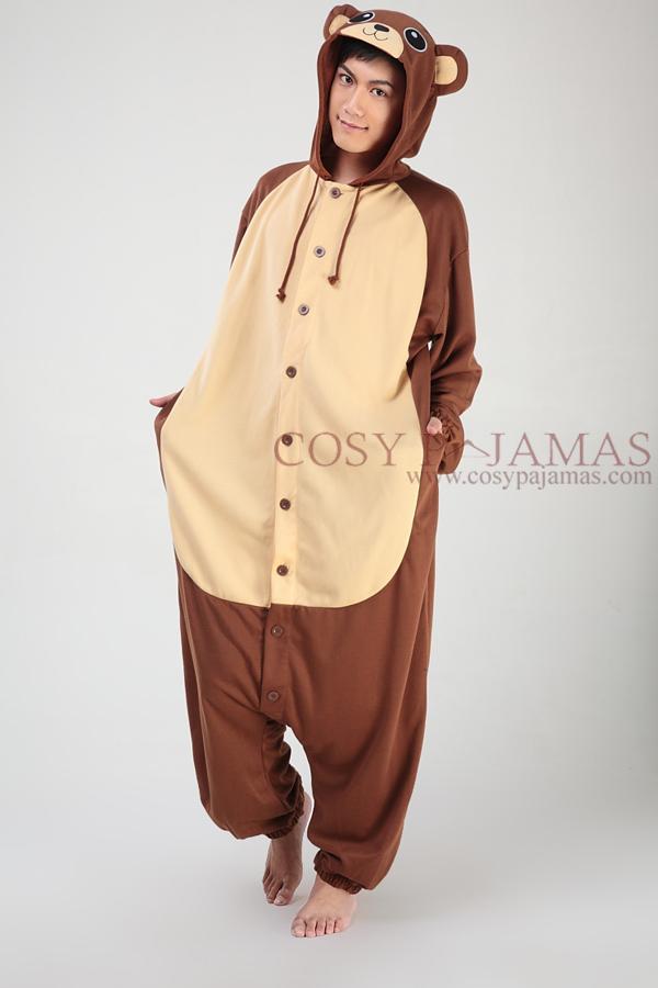 Polyester Mesh Brown Bear Adult Onesie Kigurumi Pajamas ea29c5d5b150