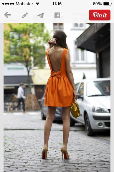 backless dress bows orange dress