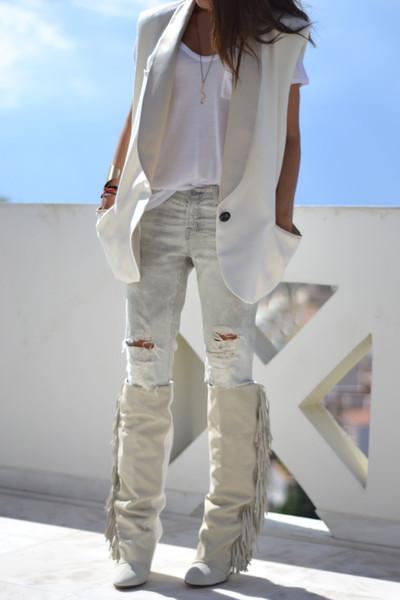 Tassel fringe wedge boots suede leather knee high kim kardashian