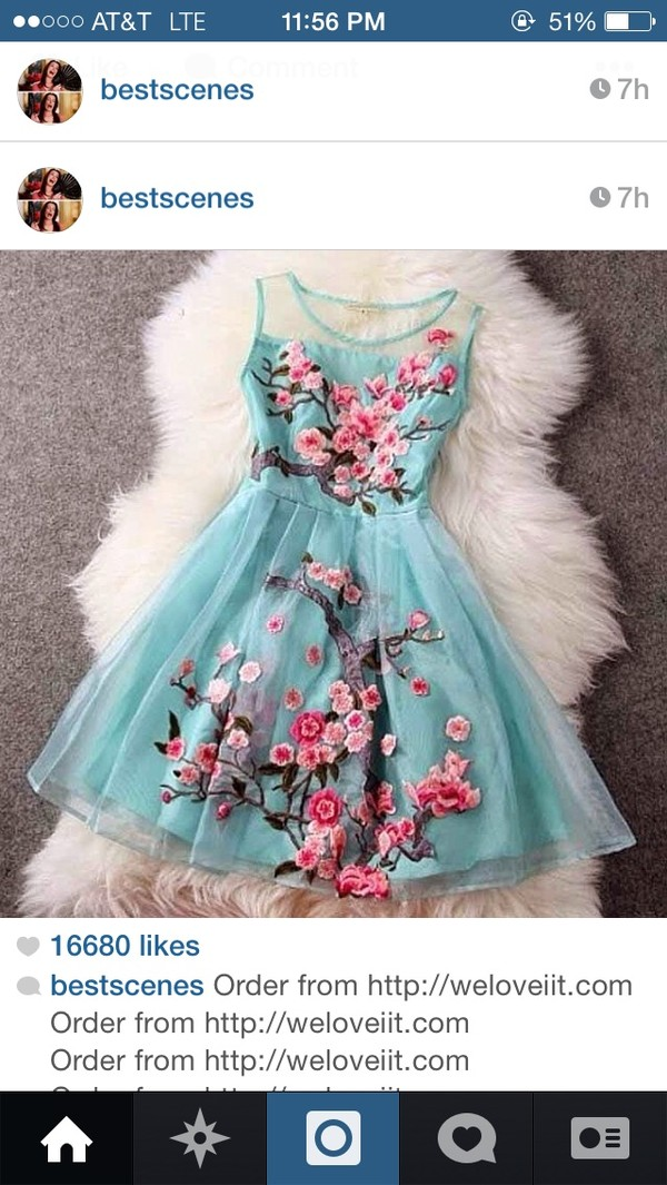 dress blue flowers short