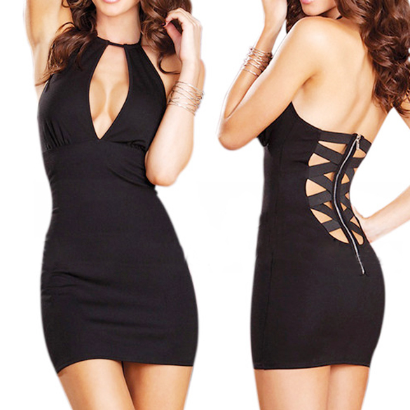 New sexy g string party clubwear women fashion v neck back zipper mini dress