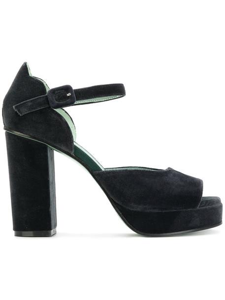 Paola D'arcano women sandals platform sandals leather velvet green shoes