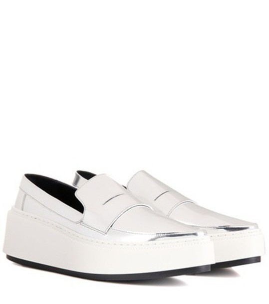 Kenzo Platform Leather Loafers in silver