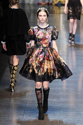 dress couture fashion runway model stained glasses dolce and gabbana floral knee high socks
