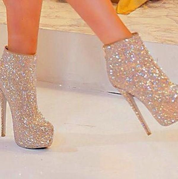 Metallic Heel Glitter Bootie Charlotte Russe