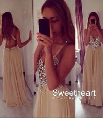 dress champagne long prom jewels pretty