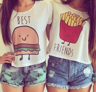t-shirt bff hamburger fries burger and fries top gloves earphones shirt