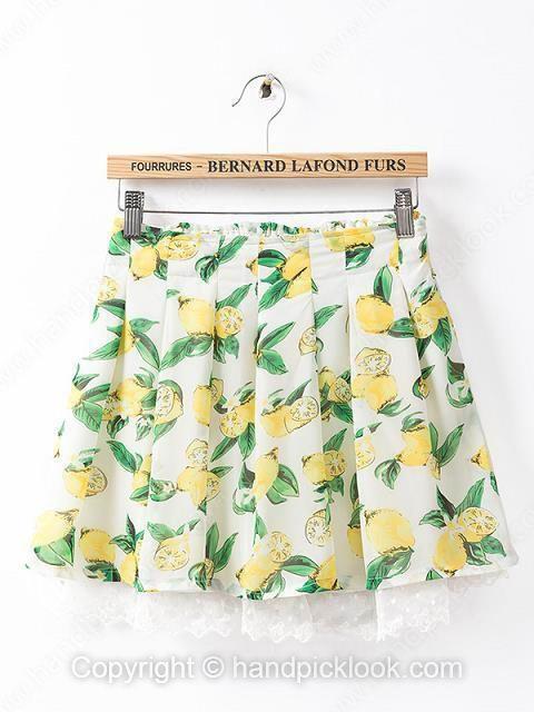 White Elastic Waist Fruits Print Skirt - HandpickLook.com