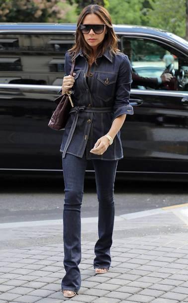 jeans denim denim jacket celebrity victoria beckham skinny jeans