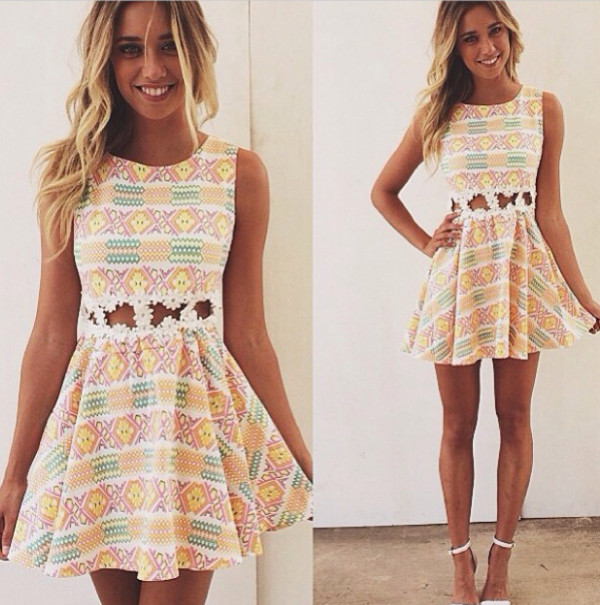 dress cute aztec white