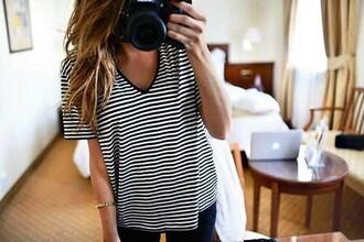 shirt t-shirt striped shirt v neck top black and white t-shirt black and white tee dark blue and white