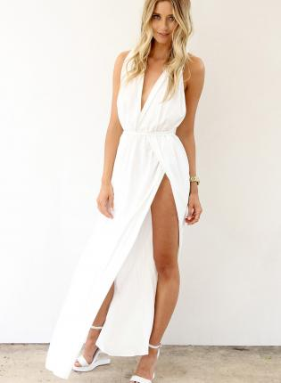 White Longer Lengths Dress - White Maxi Dress with Plunge | UsTrendy