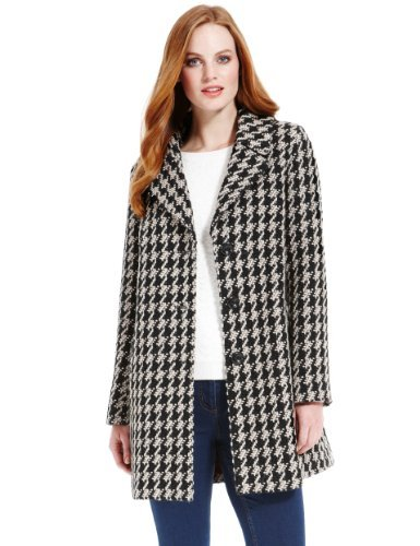 M&S Collection Dogtooth Coat with Wool - Marks & Spencer
