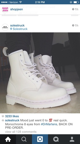 shoes boots all white dr martins white shoes cute
