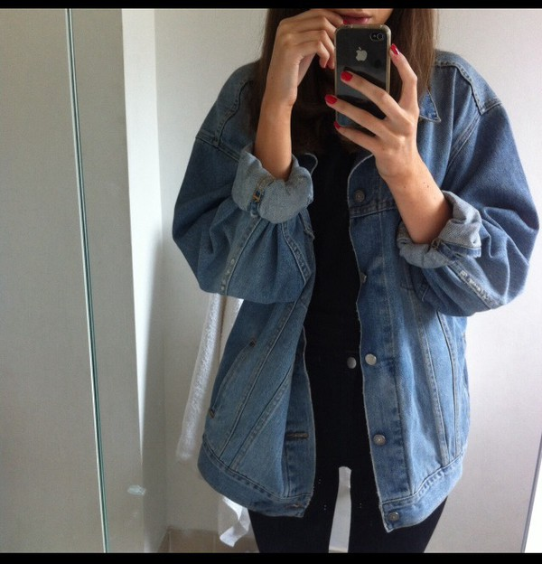 jacket blue jeans denim jacket blue jeans jacket summer grunge hippie ...