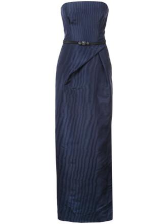 gown women blue silk dress