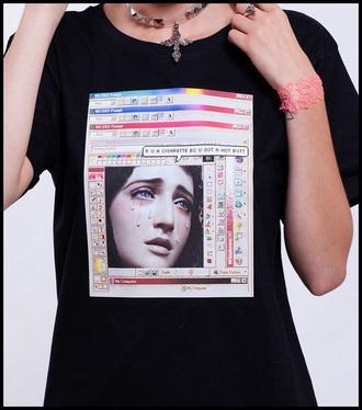shirt pastel goth pastel grunge aesthetic aesthetic tumblr tumblr vaporwave black internet t-shirt