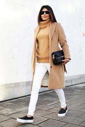 fashion landscape,blogger,turtleneck,white jeans,camel coat,vans,coat,sweater,jeans,bag