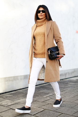 fashion landscape blogger turtleneck white jeans camel coat vans coat sweater jeans bag