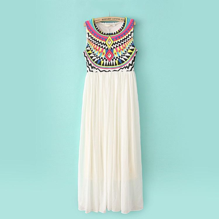 Boho Hippie Sequins Style Chiffon Maxi Dresses Bohemian Beach Long ...