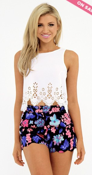 shorts floral bright pink summer outfits summer shorts black pattern patterned shorts cute girly girly grunge tank top