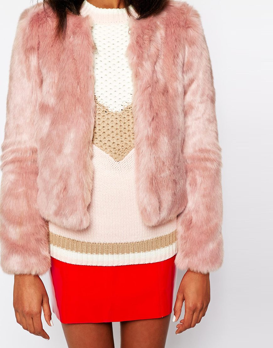 Warehouse Crop Faux Fur Jacket at asos.com