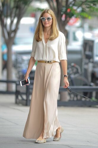 skirt blouse maxi skirt olivia palermo flats ballet flats shoes sunglasses printed ballerinas nude skirt white sunglasses cat eye shirt white shirt three-quarter sleeves