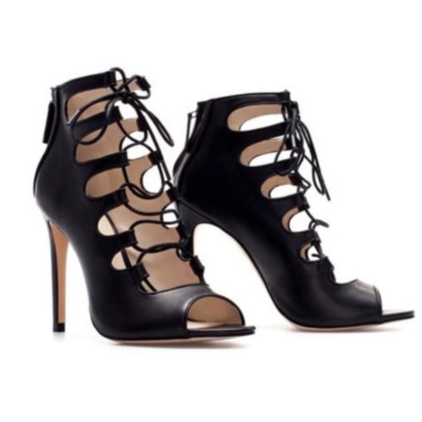 shoes, black, lace up, ankle boots