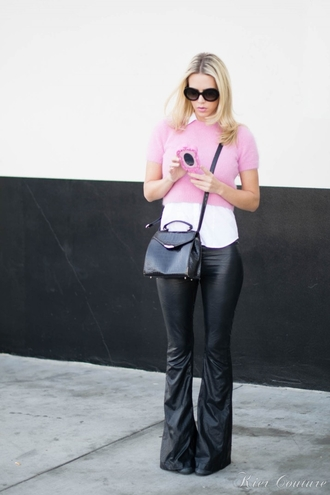 fashion addict blogger bag flare moschino pink cropped sweater