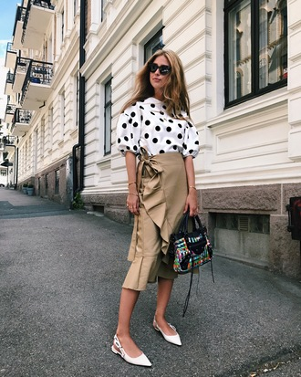 skirt tumblr midi skirt nude skirt wrap ruffle skirt ruffle top polka dots shoes flats slingbacks bag sunglasses