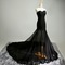 Glam black handmade tulle prom gown with lace applique, prom gowns 2016