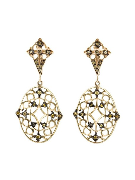 Loree Rodkin women earrings lace gold yellow orange jewels