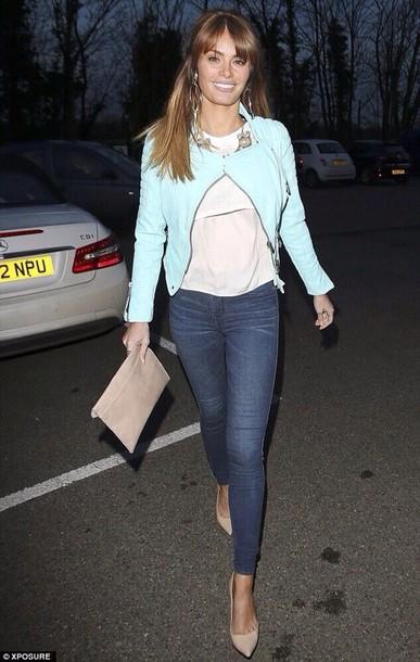 Light blue leather jacket celebrity