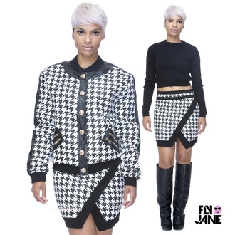 jacket black and white houndstooth balmain