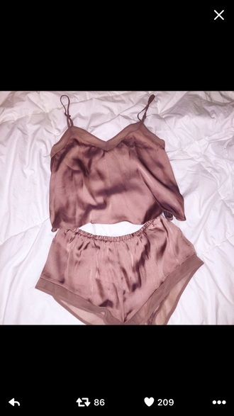tank top silk pjamas pj's sexy pajamas blush pink