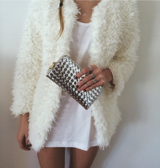jacket white jacket white coat winter cold cute pretty tshirt dress white dress