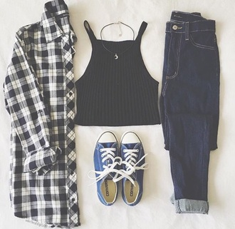top tumblr black halter neck boots choker necklace flannel fall outfits blue