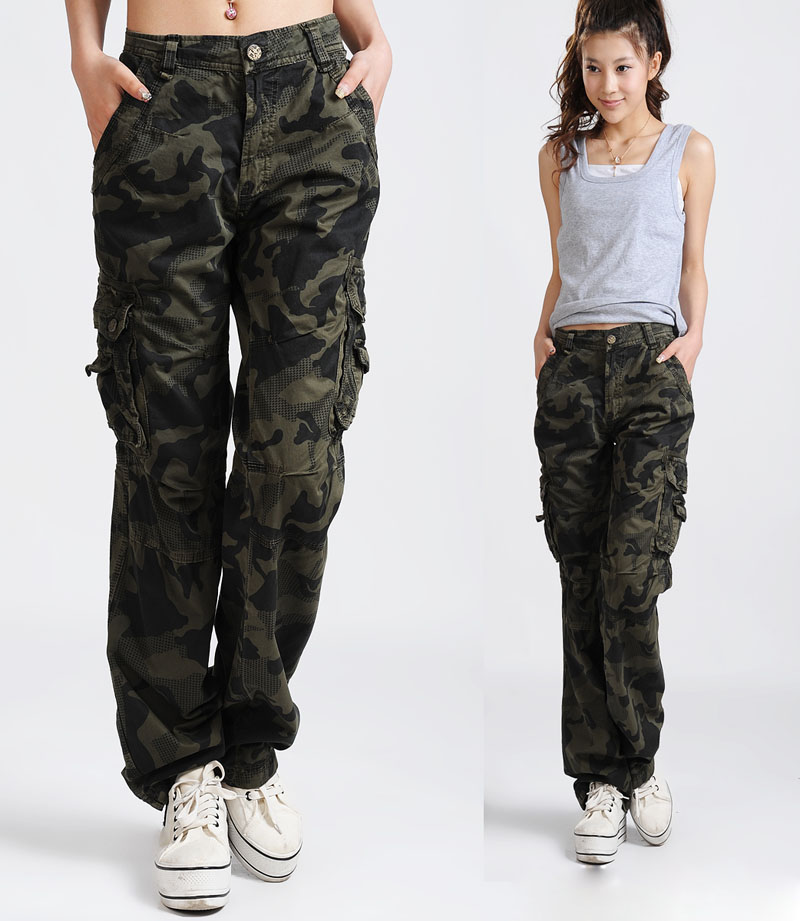 women army fatigue pants 13 spring and autumn cotton 100% olive Camouflage pants casual pants loose overalls trousers unisex-inPants & Capris from Apparel & Accessories on Aliexpress.com
