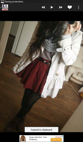 jeans blouse coat skirt tights scarf