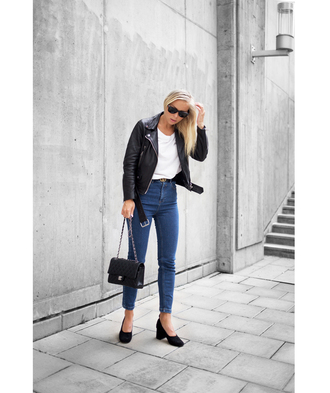 victoria tornegren blogger shoes jeans belt jacket streetstyle asos gucci leather jacket