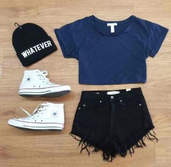 black shorts cute shorts beenie converse whatever blue shirt