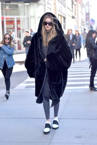 coat oversized black fur coat fenty x puma rihanna gigi hadid long fur coat black fur coat