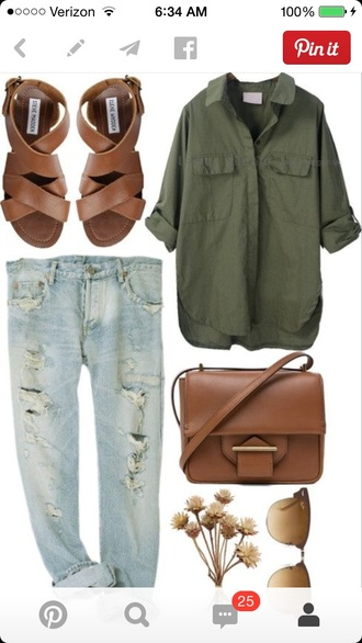 blouse button up loose jeans cuffed sleeves dark green forest green cuffed loose-fitting