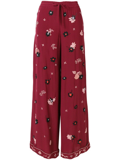 Valentino pants palazzo pants embroidered metallic women floral silk red